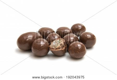 almonds in chocolate glaze on a white background