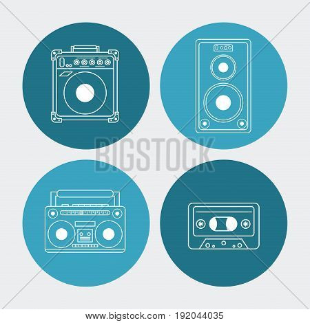 white background with colorful round frames with audio playback elements vector illustration