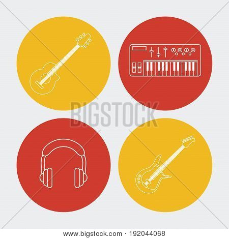 white background with colorful round frames with musical instruments and earphones vector illustration