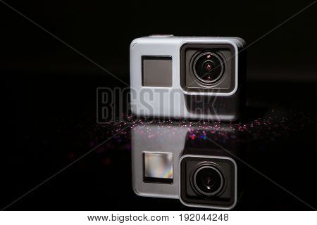 Kharkov, Ukraine - April 13, 2017: GoPro HERO 5 black edition digital action camera. Compact gadget waterproof , support 4k video recording, voice controls and is often used in extreme photography