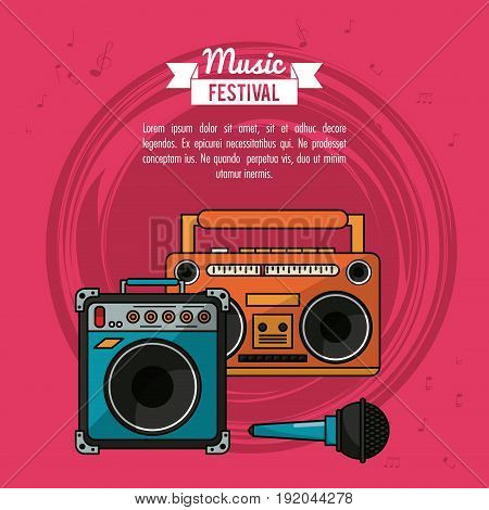 poster music festival in magenta background with cassette tape player and speaker box and microphone vector illustration