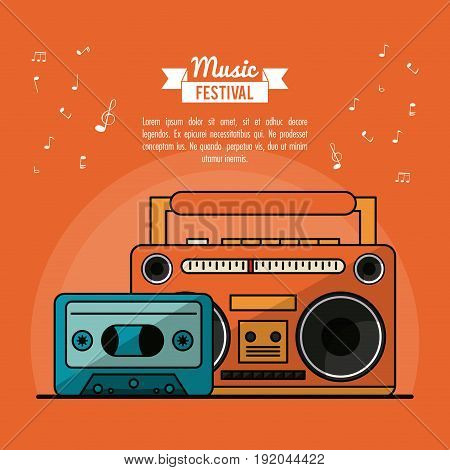poster music festival in orange background with cassete tape player and cassette tape vector illustration