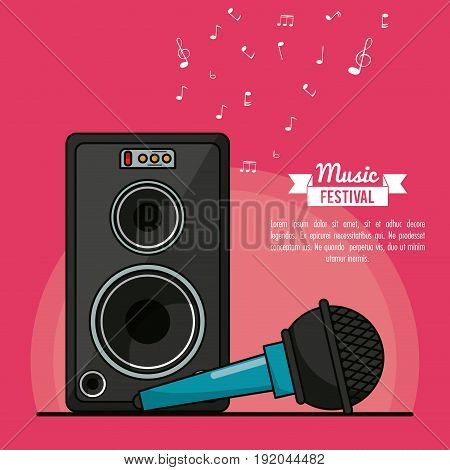 poster music festival in magenta background with speaker box and microphone vector illustration