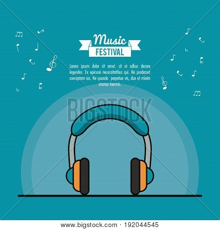 poster music festival in blue background with stereo headphones vector illustration