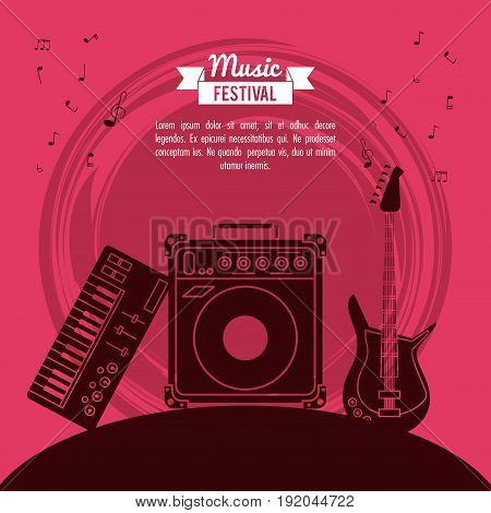 poster music festival in magenta background with electric guitar and speaker box and electronic piano vector illustration
