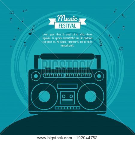 poster music festival in blue background with cassette tape player vector illustration