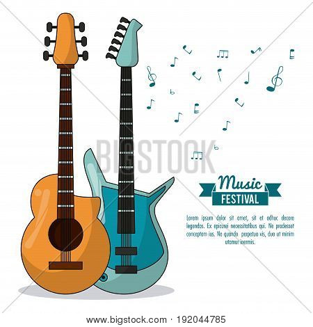 poster music festival in white background with acoustic guitar and electric guitar vector illustration