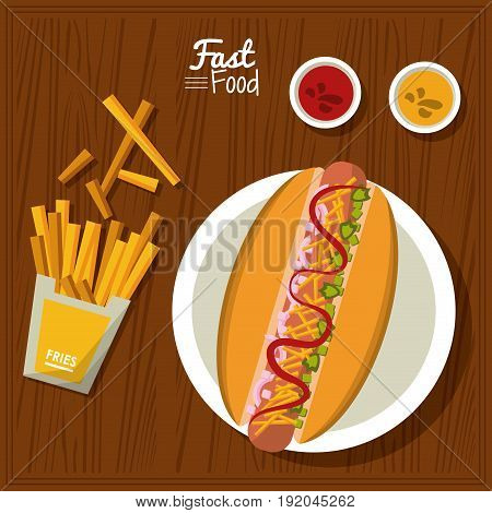 poster fast food in kitchen table background with dish of hotdog and sauces and fries vector illustration