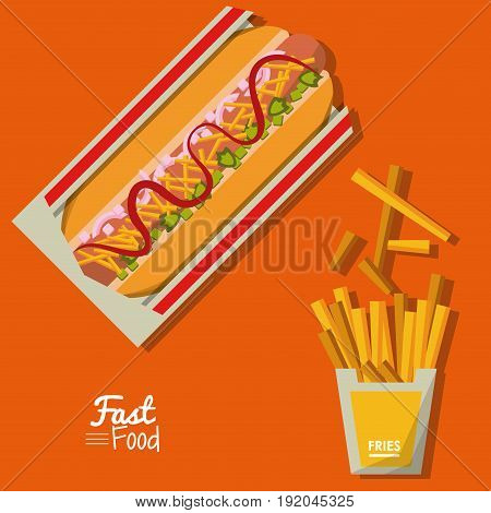 poster fast food in orange background with hotdog and fries vector illustration