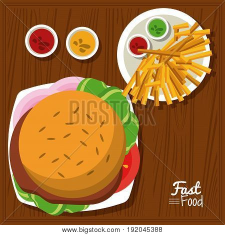 poster fast food in kitchen table background with burger and sauces and fries vector illustration