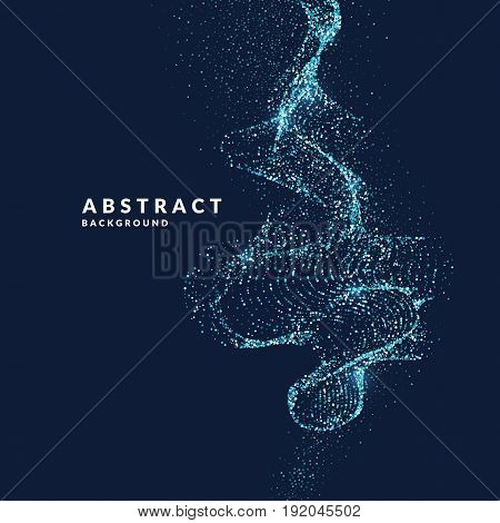 Vector illustration of a magic wave with shining particles of glitter on a dark background. Abstract concept for template design of websites