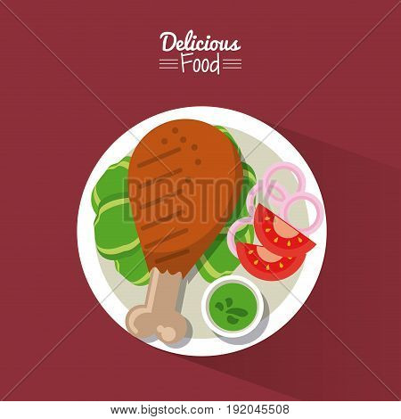poster delicious food in purple background with dish of fried chicken with vegetables vector illustration