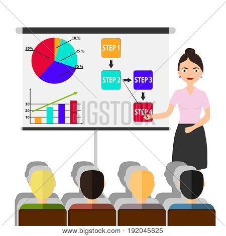 A female businessman holds a seminar with a pointer. People listen to the seminar. Flat design vector illustration vector.