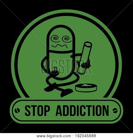 No Drugs label Campaign, Stop Addiction Marijuana, Conceptual vector illustration.