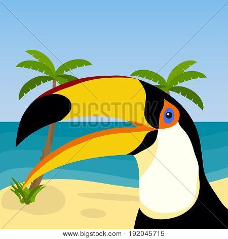 Toucan on the background of the ocean and palm trees. Toucan head. Flat design vector illustration vector.