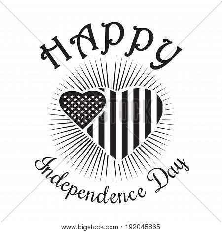 Independence Day icon. Happy Independence Day of America. US Flag in shape of heart. Black icon isolated on white background. Vector illustration