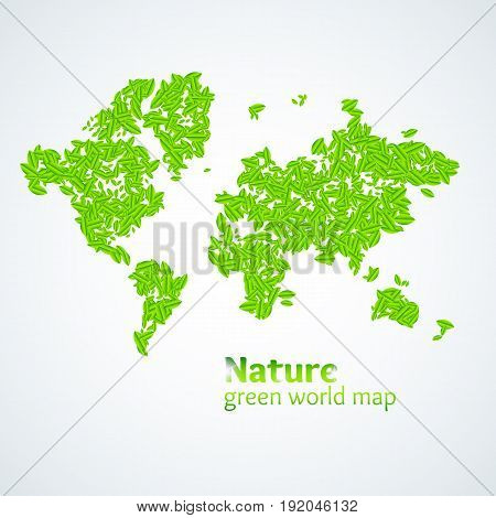 Vector illustration of Nature green map of the world with leaves on a white background. Bright poster on eco theme, the protection of the environment