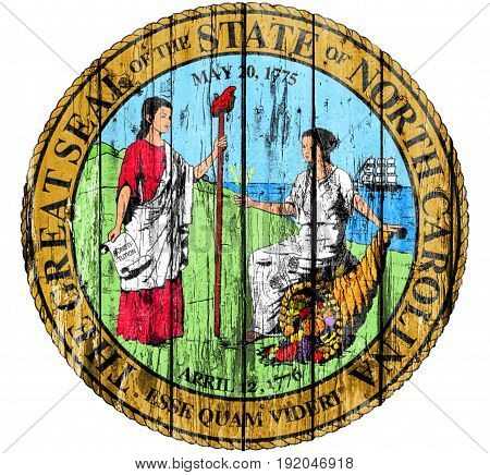 Flag of Seal North Carolina painted on wooden frame