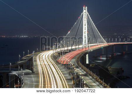 San Francisco-Oakland Bay Bridge Eastern Span at Night. Treasure Island, San Francisco, California, USA.