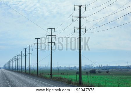 power poles symmetric background & electrical symmetrical