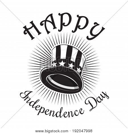 Independence Day card. Happy Independence Day. 4th of July. Uncle Sam Hat. Color icon isolated on white background. Vector illustration