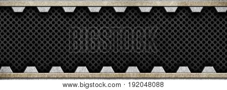 Metal Frame With A Black Perforated Mesh, 3D, Illustration