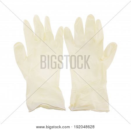 rubber gloves protect equipment isolated on white background