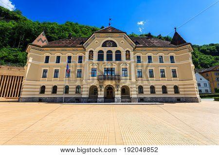 Building parliament of Liechtenstein in Vaduz. Liechtenstein.