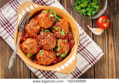 Pork Meatballs With Spicy Tomato Sauce In Dish