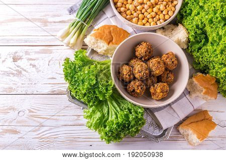 Falafel And Chickpea. Jewish Cuisine. Top View