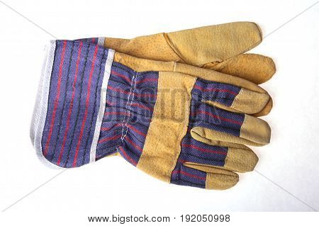 Pair of protective work gloves isolated on a white background