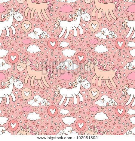 Pink unicorn. Hearts and stars. Seamless vector pattern background.