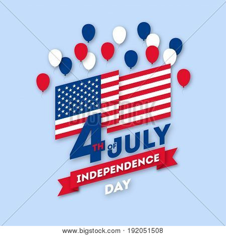 Postcard paper art. American holiday postcard for Independence day on july 4. Poster with balloons and flag. Traditional colors, vector illustration