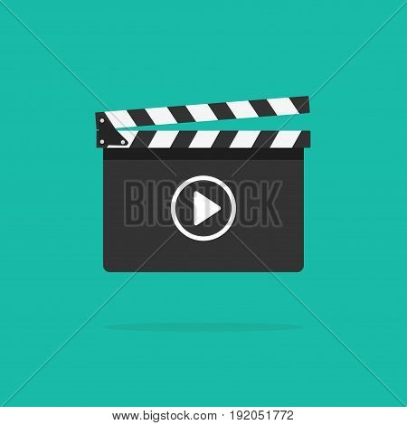 Clapperboard icon vector isolated on color background, flat style clapperboard with play button, filmmaking device, video movie clapper equipment