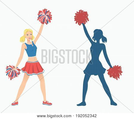 Cheerleaders with pom-poms and her silhouette. Vector illustration EPS-8.