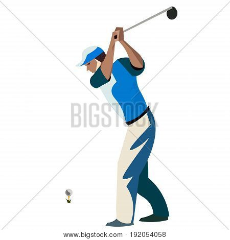 Men cartoon playing golf. Vector illustration on whita background