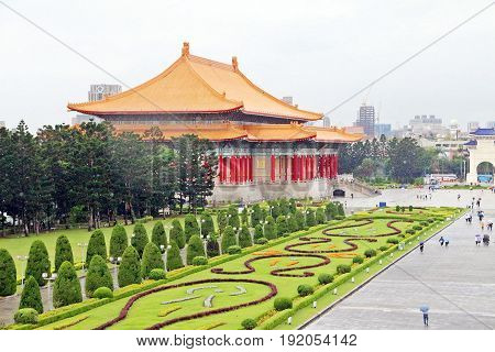Taipei Thaiwan - April 2017: Green garden in front of Theater Hall looked from Chiang Kai-shek Memorial Hall
