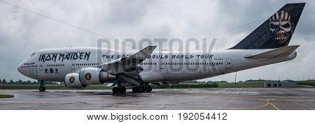 BERLIN GERMANY - JUNE 01 2016: Airport Schoenefeld. Iron Maiden's Boeing 747