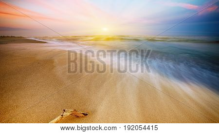 Magnificent long exposure sea sunset. Long exposure dramatic tropical sea and sky sunset