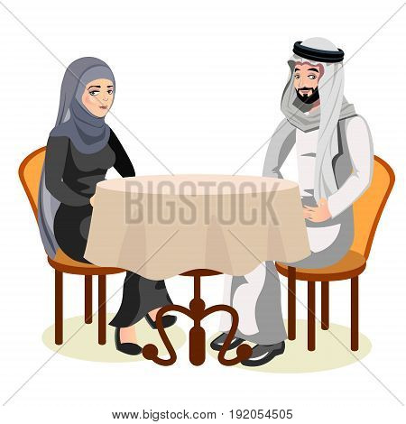 Muslim couple sit together at the table together. Vector illustration