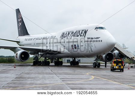 BERLIN GERMANY - JUNE 01 2016: Iron Maiden's Boeing 747