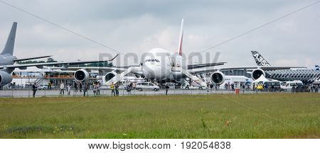 BERLIN GERMANY - JUNE 01 2016: The largest passenger airliner in the world Airbus A380-800. Emirates Airline. Exhibition ILA Berlin Air Show 2016