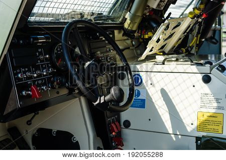BERLIN GERMANY - JUNE 02 2016: The driver's cab of the launching missile station IRIS-T SLS with command and fire-control system of the company Diehl Defence. Exhibition ILA Berlin Air Show 2016
