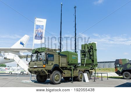 BERLIN GERMANY - JUNE 02 2016: Launching station IRIS-T SL on the basis of vehicle MAN SX44. Diehl Defence. Exhibition ILA Berlin Air Show 2016