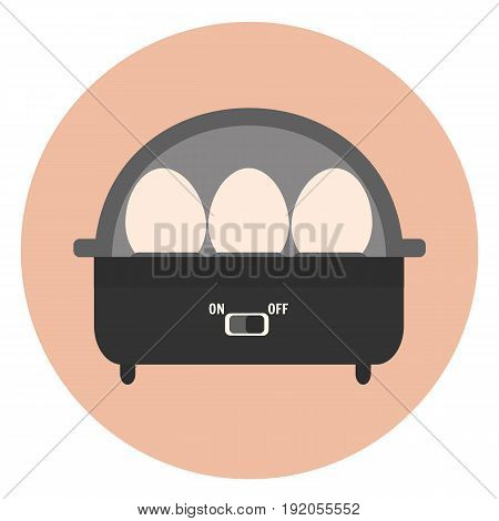Flat vector electric egg boiler icon monochrome kitchen appliance eggs cooker for healthy breakfast