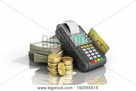 Card Terminal On Stacks Of Dollar Bills With A Bank Card Inside 3D Illustration On White Glossy Back