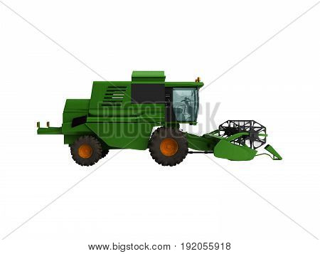 Combine Harvester Green 3D Render On White Background No Shadow