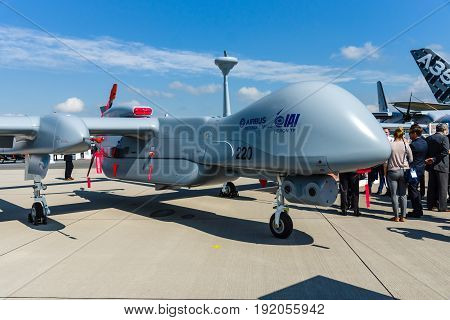 BERLIN GERMANY - JUNE 02 2016: Reconnaissance UAV IAI Eitan (Steadfast) also known as Heron TP by the Malat division of Israel Aerospace Industries. Exhibition ILA Berlin Air Show 2016