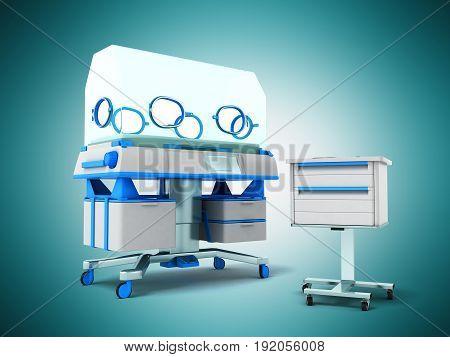Incubator For Children Blue Front 3D Rendering On Blue Background