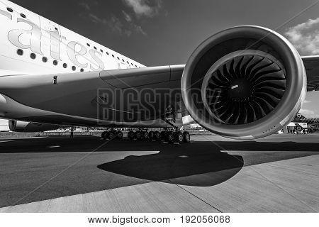 BERLIN GERMANY - JUNE 01 2016: Detail of the wing and a turbofan engine